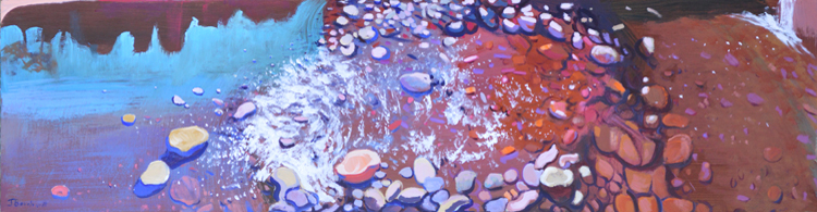 "Rock Flow: Acrylic and Resin on Panel, 15""x60"""
