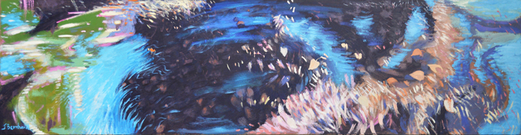 "Ground Spin: Acrylic on Panel, 15""x60"", SOLD"