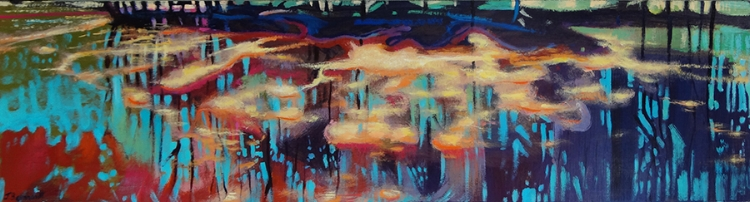 "Hovering Light; Acrylic and Resin on Panel, 15""x60"", SOLD"