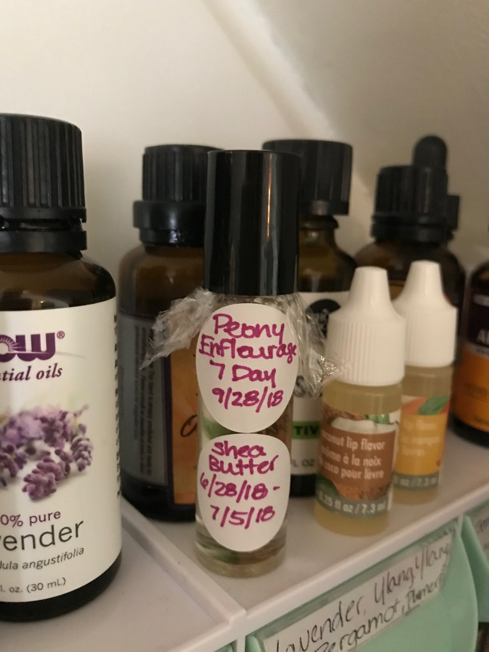 My handmade Peony Absolute hanging out with my essential oils, extracts, lip flavors, and fragrance oils. A little corner of my soap kitchen that we call Scent-sylvania (name suggested by my sweet husband). Because we live in Pennsylvania and because we are huge nerds!