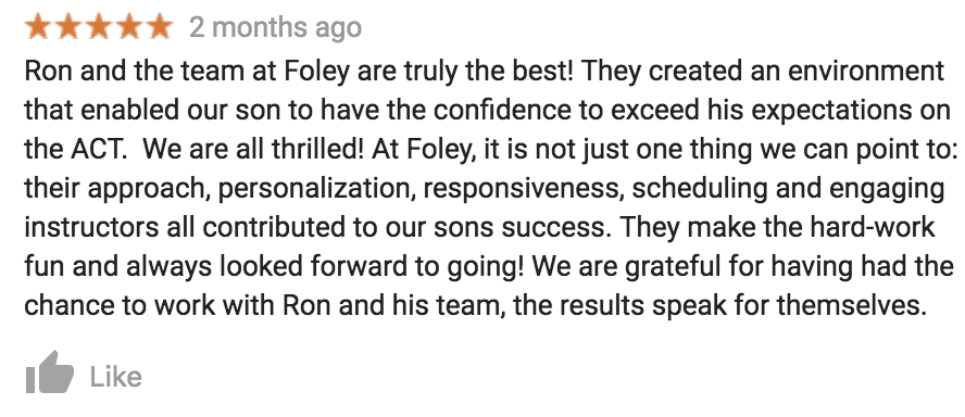 Share your experience! - If you add photos to our Google Business locations, write a review for Foley Prep, or post a pic on Insta, chances are we will see it. Just in case, screenshot it and send it to ronfoley@foleyprep.com. Thanks!