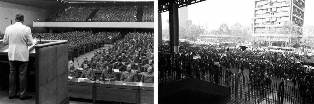 7. Salón Plenario del Diego Portales. El dictador Augusto Pinochet dirigiéndose a la Junta Militar. 8. Reja exterior del Diego Portales. Manifestación por el hallazgo de cadáveres de detenidos desaparecidos.