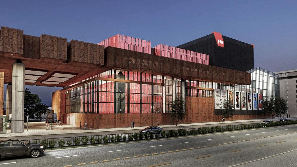 14. Render proyecto Segunda Etapa GAM. Vista exterior del nuevo edificio correspondiente a una sala de espectáculos de gran capacidad.