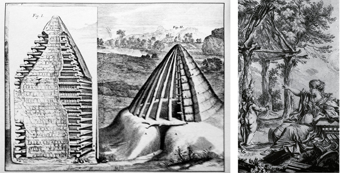 1. Grabado de Claude Perrault de la Cabaña Primitiva 1673. 2. Grabado de Marc- Antonie Laugier 1795.