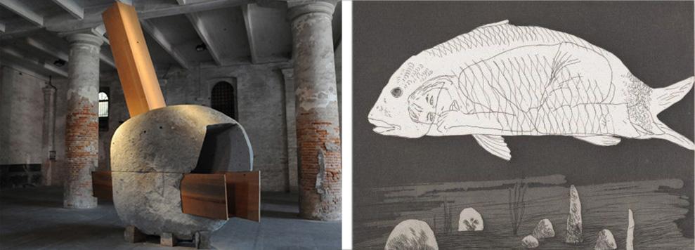 """7. Refugio proyectado por Smiljan Radic y Marcela Correa instalado en la Bienal de Venecia, 2010. 8. Litografía """"el niño escondido en un pez"""" David Hockney, 1969."""