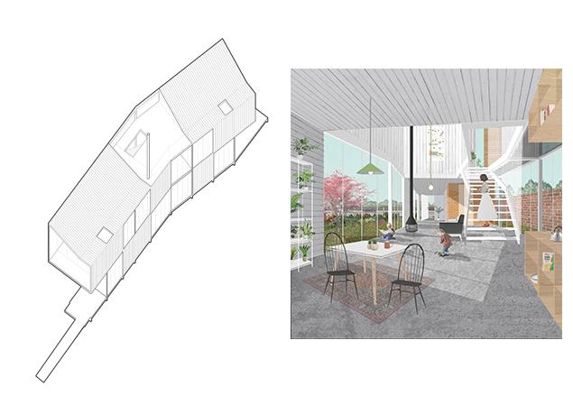 Axonométrica y Collage Casa Yerovi - © Juan Tohme