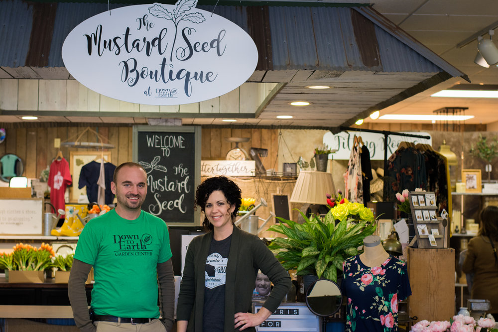 Mustard Seed Boutique and Down to Earth Garden Center co owner Ben Polzin and Mustard Seed Boutique Manager Leah Niedfeldt pose for a photo at the shop, which officially opened in March 2018.