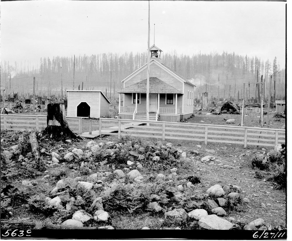 Barneston schoolhouse.   Photograph courtesy of the Seattle Municipal Archives, Item  #48057