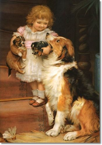 If these two puppies don't look just like Maisie and Chisum, painted by  Sir Arthur J. Elsley