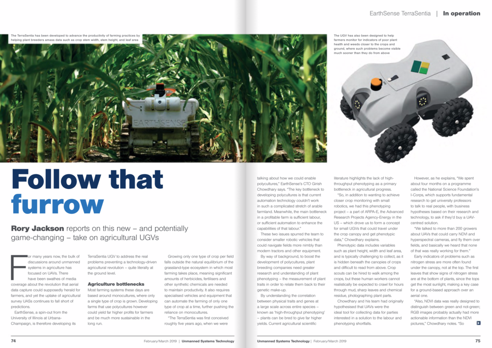 Rory Jackson interviews EarthSense CTO Girish Chowdhary for the Unmanned Systems Technologies Magazine.