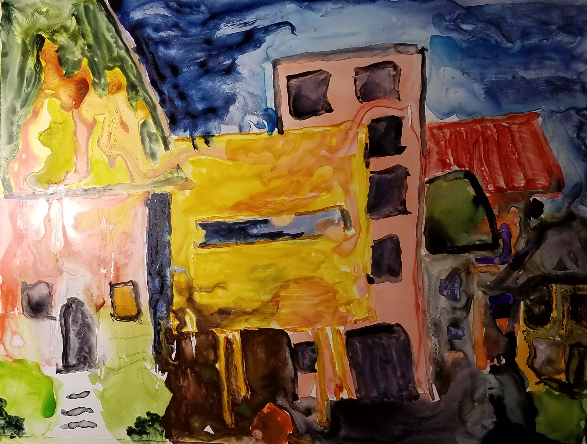 """my childhood expressed as homes"" on Yupo Synthetic Paper"