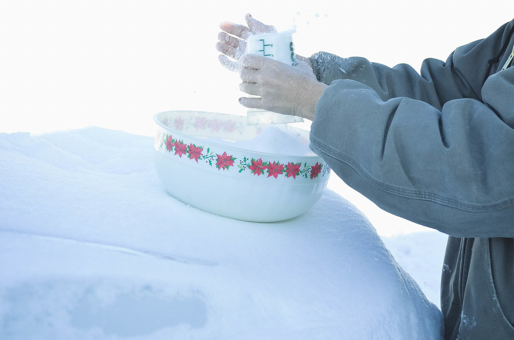 1.  - Collect 4 cups of clean snow in a large mixing bowl.