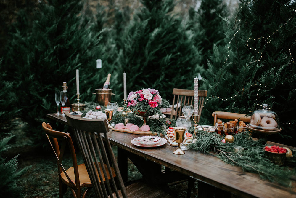 Photographer:  Ivory + Grace Photography //Event Designers:  Bob & Ginger Co.  +  S. Chapman Designs //Floral Designer:  S. Chapman Designs //Location:Gilbert's Christmas Tree Farm