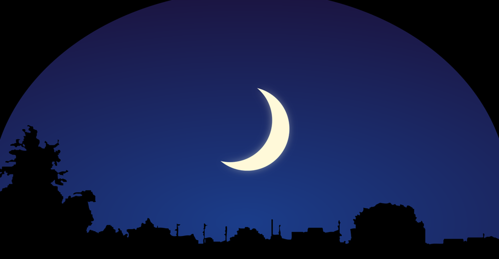 Sleep crescent moon over city