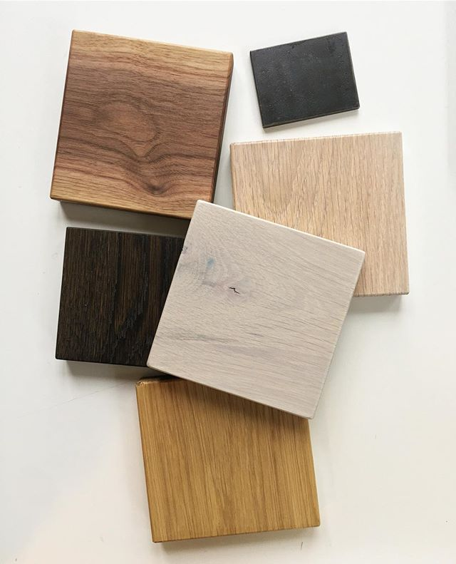 So many beautiful choices it's hard to pick just one ! In the end we did choose the walnut ( top left ) for our clients custom dining table by @unionwoodco