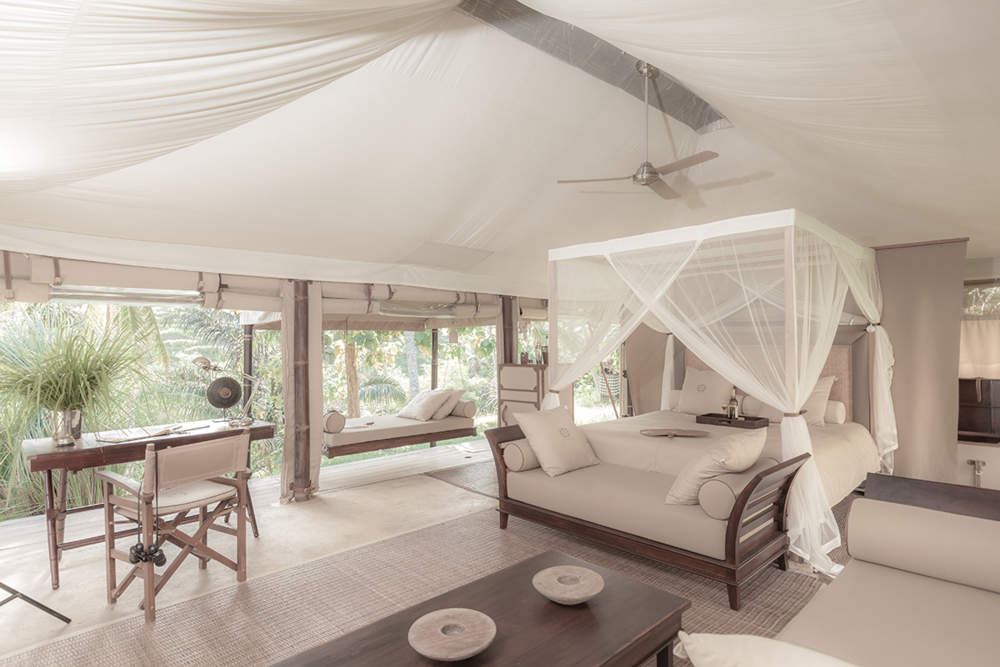 Neutral Elegance - Throughout our tents I focus on a simple palette of natural beige, off white for the interiors and a selection of brown for wood finishes and adding black for graphics and packaging.It creates style and elegance bringing the power of silence to an ever changing and tremulous world.