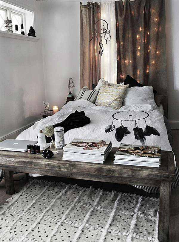 Bedroom. - White's, neutrals, blacks. Natural timber, feathers. Top it off with fairy lights, magazines and the perfect rug.