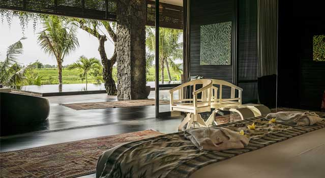 The   April Tour   Villa has a modern interior architecture and style. The space is enveloped by natures sprawling and crawling greenery with a Bali rice field landscape that mesmerises the senses and soul.
