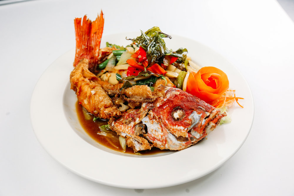 Whole Fish Red Snapper  - Sweet Chili SauceSpicy Basil SauceThree Flavors SaucePapaya Salad SauceSpicy Herb SaucePrik Khing SaucePanang Curry Sauce