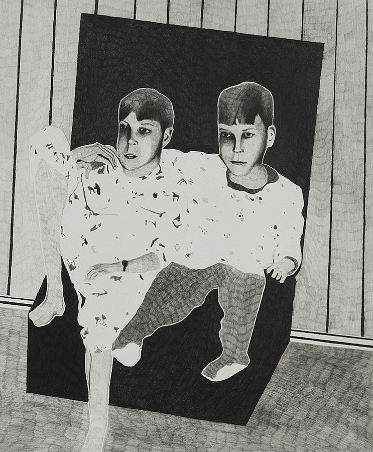 2013, the living room 38x30cm, graphite on paper