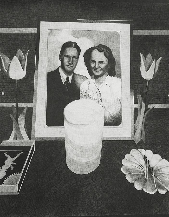2012, wood flowers 40x30cm, graphite on paper