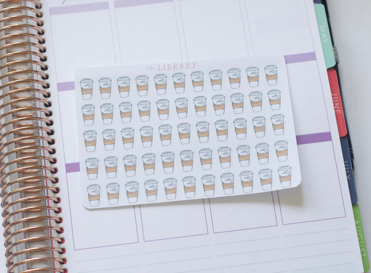 55 coffee cup hand drawn planner stickers perfect for erin condren happy planner kikki k plum paper filofax inkwell press