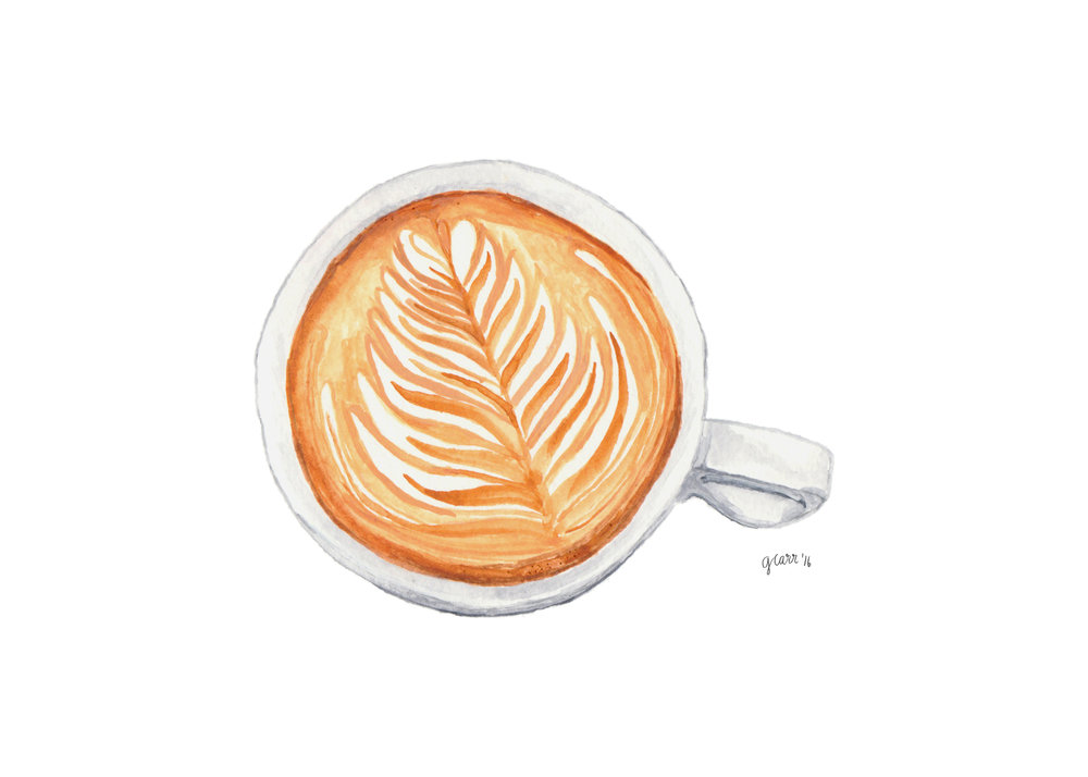Latte Art Watercolour Illustration