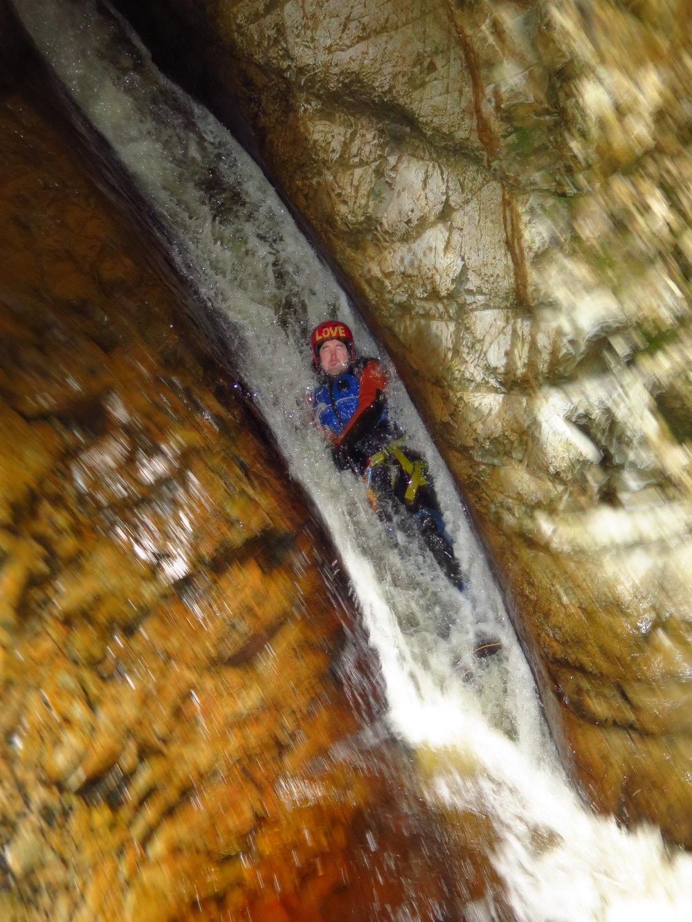 Laundry Chute on full day canyoning tour Tasmania