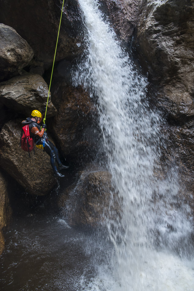 Waterfall abseil, Machinery Canyon