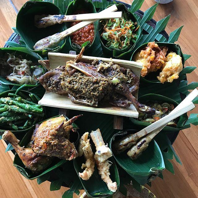 Food adventures in #Bali - all kinds of amazing spices, sambal matah, coconut, prawn, cashew pie, scallops, ayam betutu, nasi kuning, crispy duck, gado-gado.