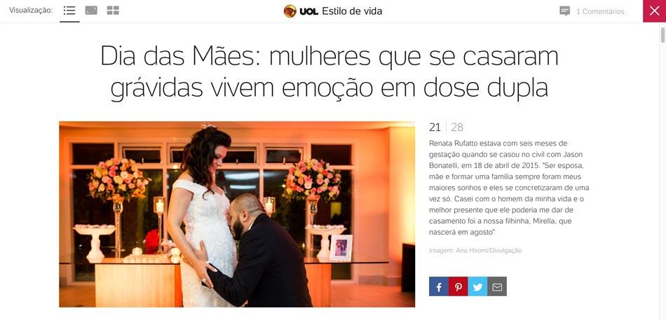 UOL - Matéria sobre mulheres que se casaram grávidas, com a foto de Renata e Jason, esperando a Mirella