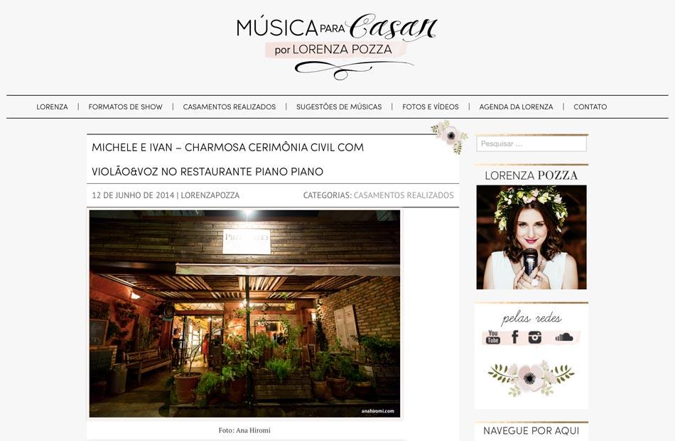 MÚSICA PARA CASAR - A cantora Lorenza Pozza conta em detalhes sobre o repertório do mini wedding de Michele e Ivan, no Restaurante Piano Piano em São Paulo