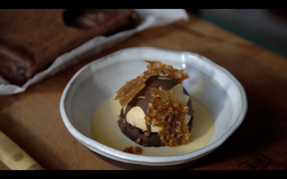 Al Browns Peanut Butter Parfait with Flourless Dark Chocolate Cake base, sugar cookie and custard.