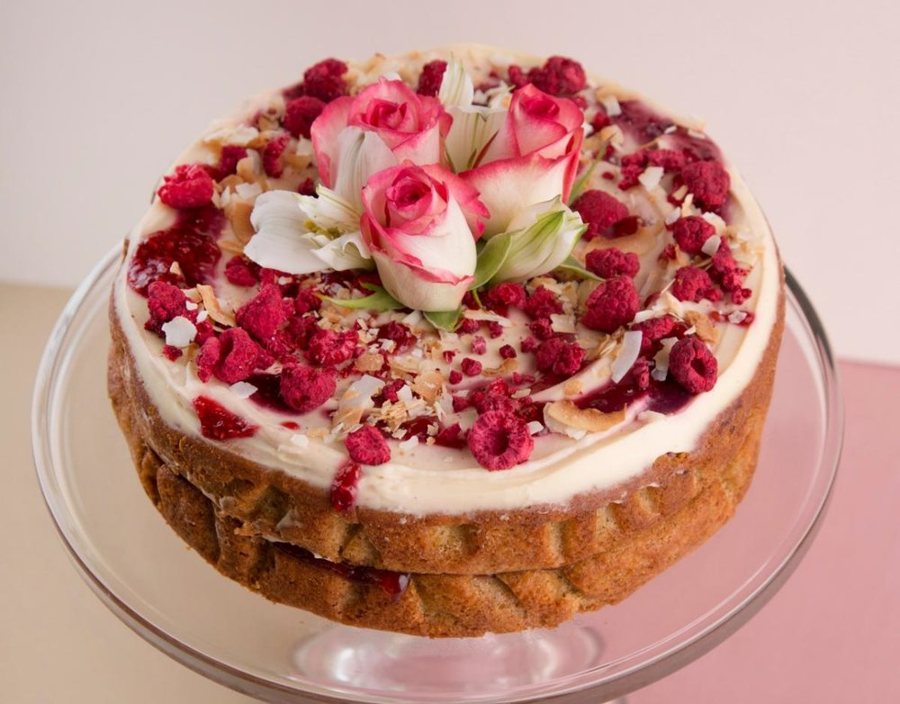 Orange Zest Pear and Raspberry Cake by the caker