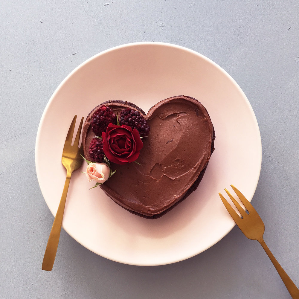 Flourless Dark Chocolate Heart Cake