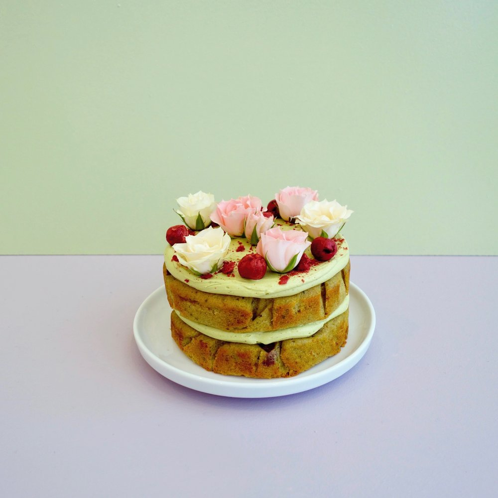 Matcha Sour Cherry Cake