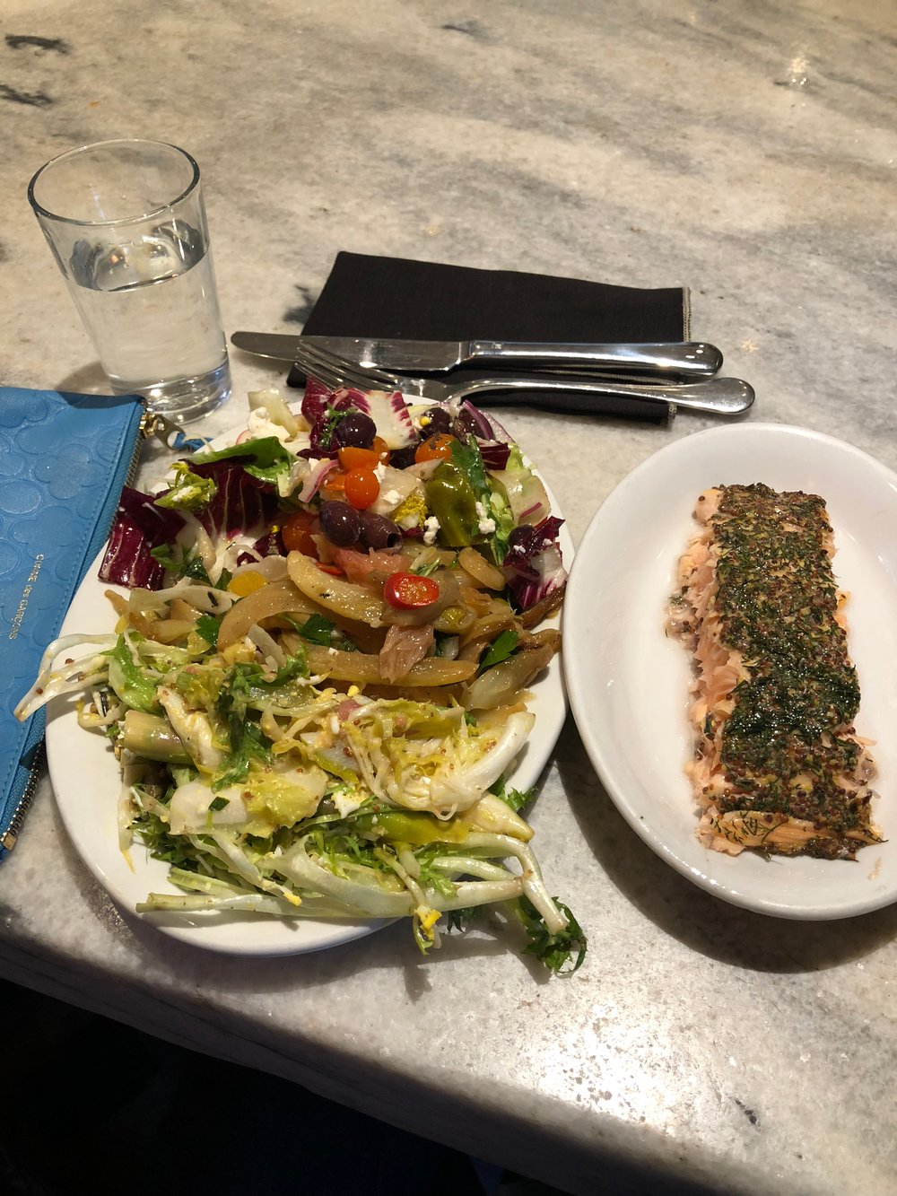 My latest meal at Gjusta - a selection of salads and a slab of perfectly grilled salmon.