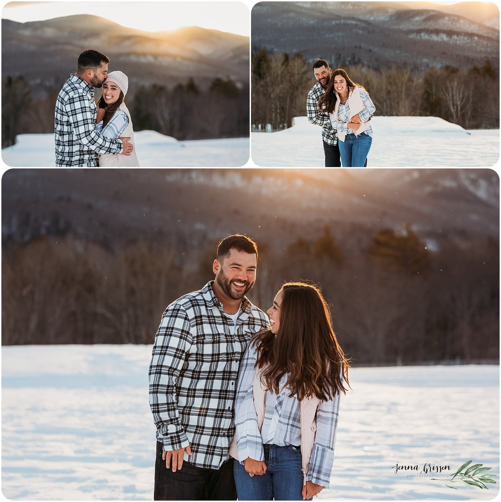 Candid Fun Snowy Vermont Couple Photography Session