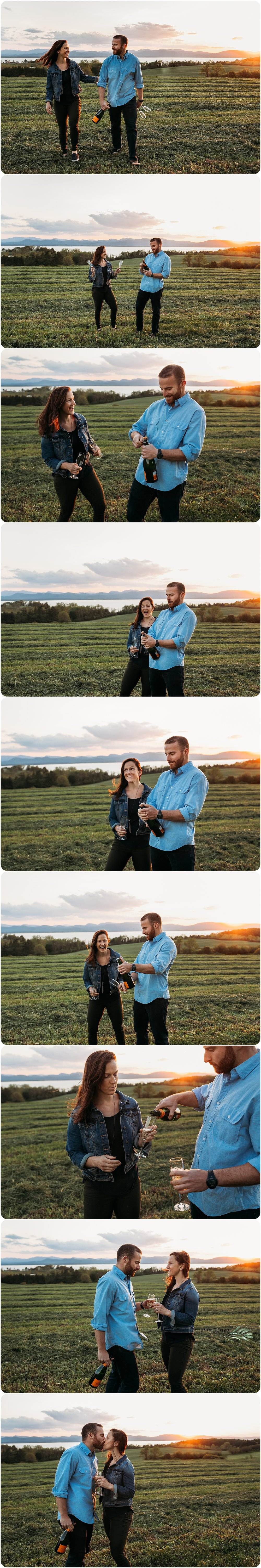 Shelburne Farms Engagement Session Champagne Toast - Jenna Brisson Photography
