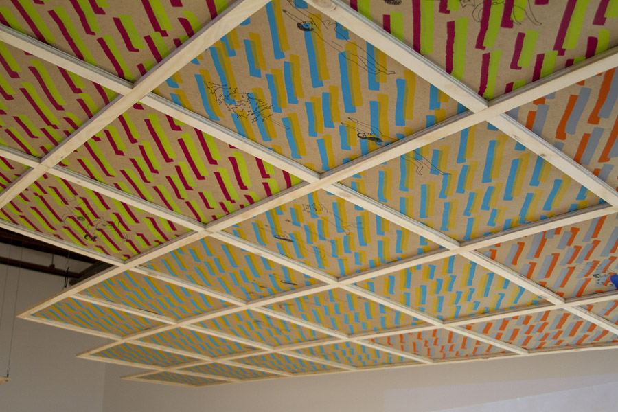 detail, silkscreened drop ceiling