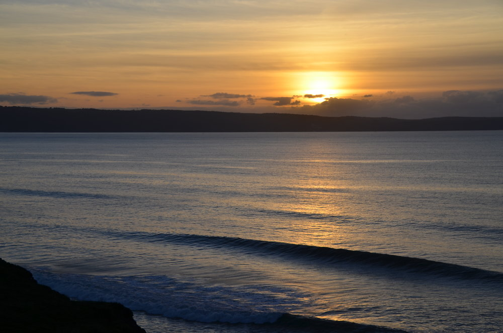 Sunset surfing at Westward Ho!