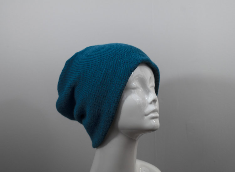 478c68e535f One Hat, Four Styles - Reversible Slouchy or Brimmed Hat - Blue and Green  Knit - Unisex