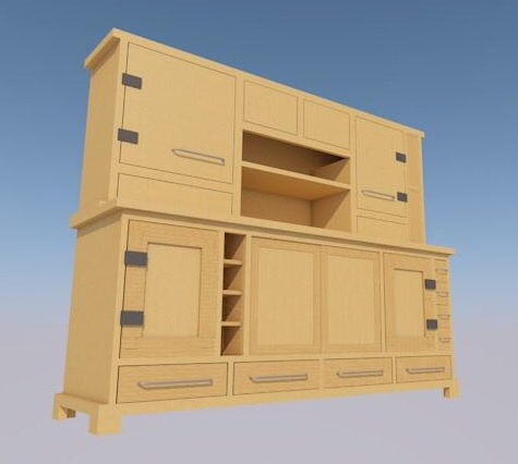 Nafisi Studio computer sketch of kitchen side dresser