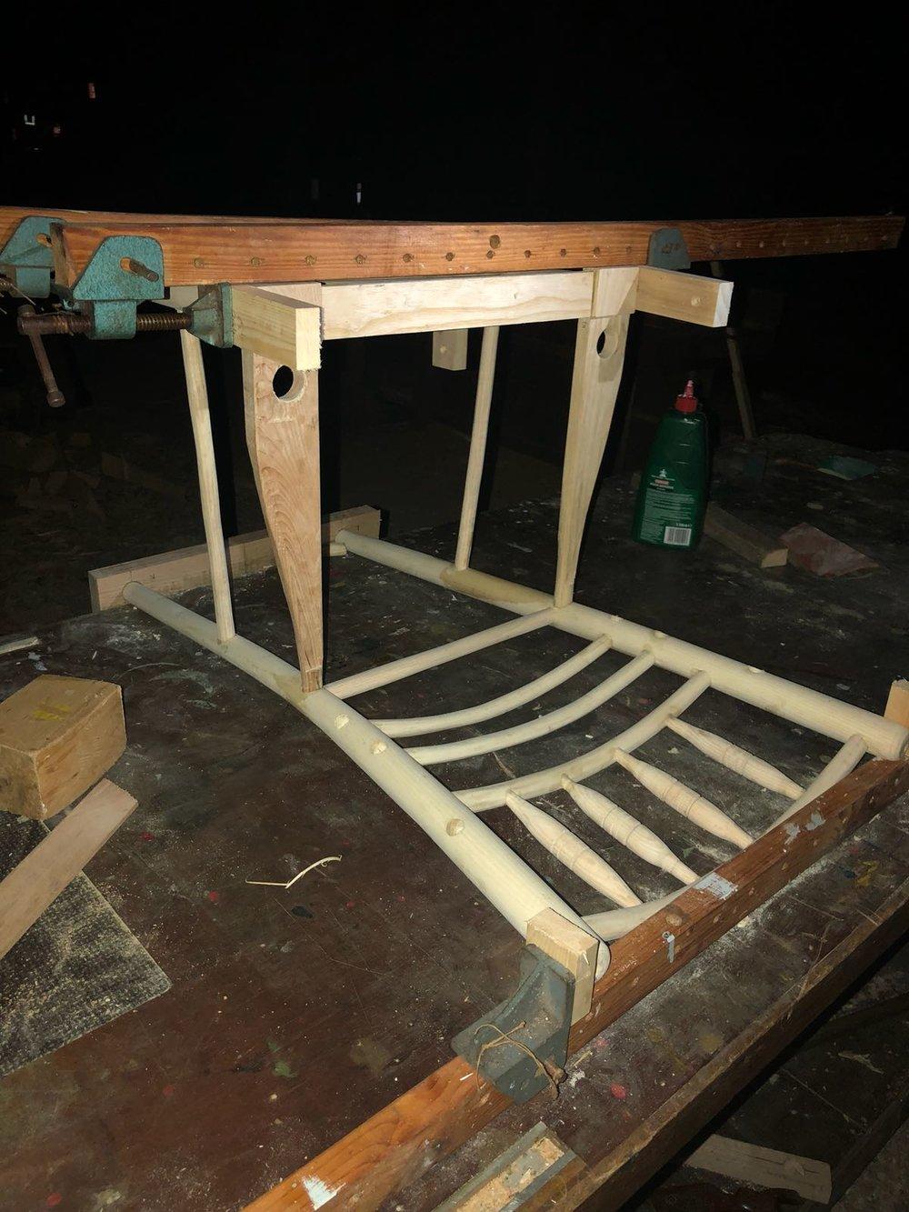 Sussex Chair frame in progress