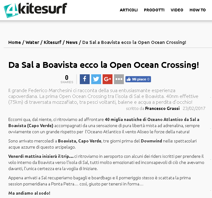 4KITESURF   A major italian portal features the story of Federico Marchesini and his experience with the KiteDownwind 2017