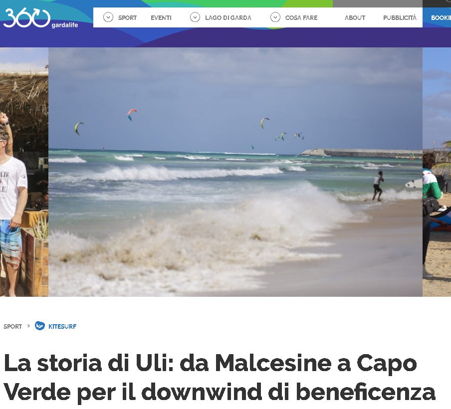 360GARDALIFE   Blogpost in Italian about Ulrich Frank and his journey to the founding of the Kite Downwind on Cape Verde