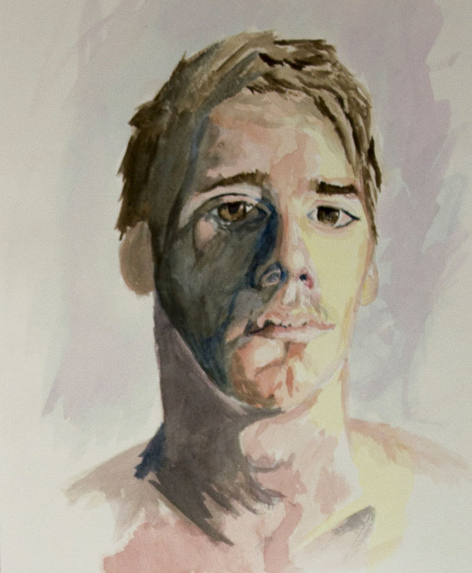 "Self 1  8""x12"" watercolor on paper"