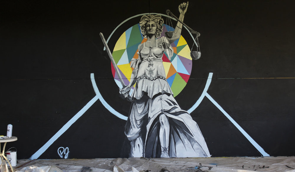 Lady Justice  8'x16'  Latex house paint, and aerosol on plywood