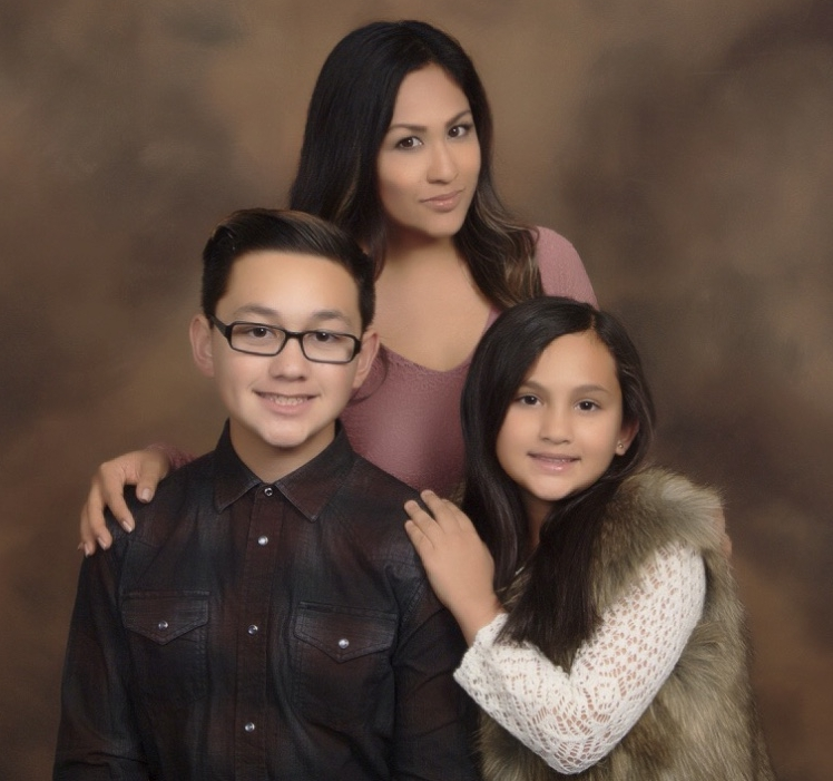 2016/2017 Scholarship recipient, Janine Radoc of Corona, California with her children.  Janine is attending Cal Baptist University studying marketing.