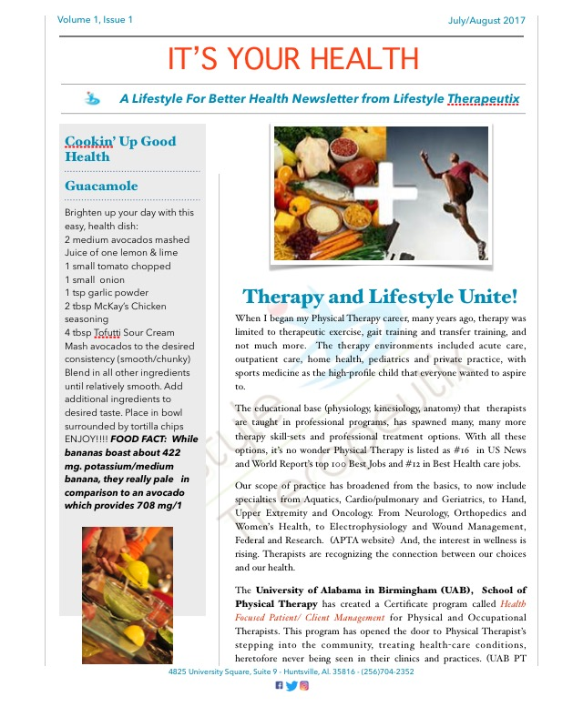 IT'S YOUR HEALTH - Welcome!! Every other month, you can find our newsletter